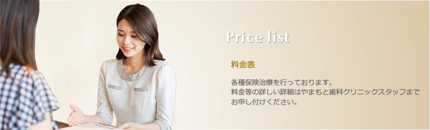 Price list 料金表 各種保険治療を行っております。料金等の詳しい詳細はやまもと歯科クリニックスタッフまでお申し付けください。